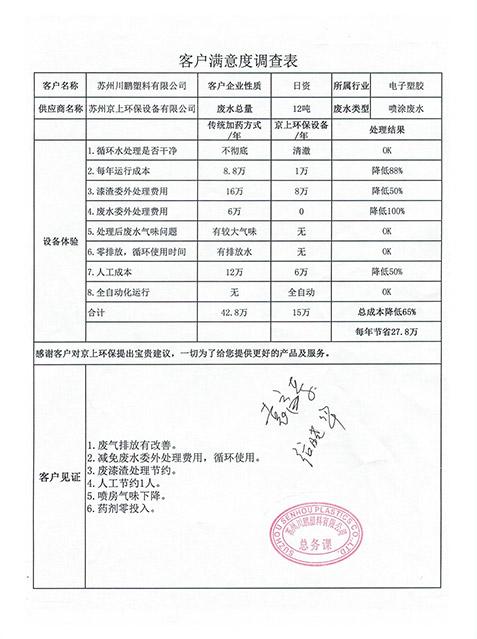 苏州川鹏塑料喷涂喷漆废水处理设备案例